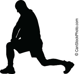 A silhouette of a man stretching his leg during exercise.
