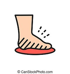 Leg swelling, edema, obesity, fat foot flat color line icon...