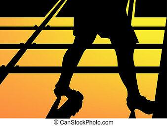 leg walking woman silhouette