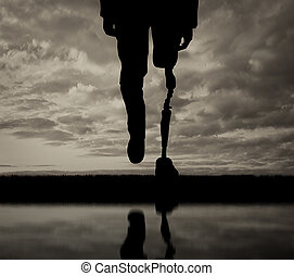 Leg with artificial limb black and white reflection - Leg...
