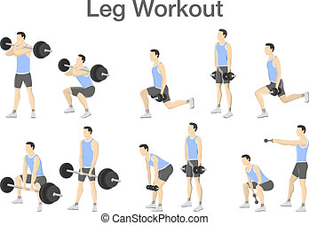 Leg workout set with dumbbell and barbell