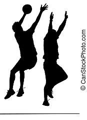 lega, uomini, silhouette, korfball