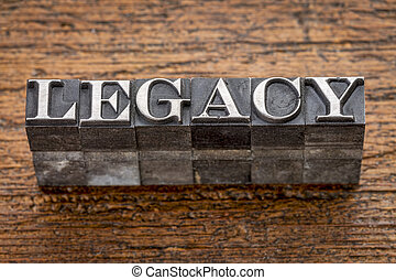 legacy word in metal type - legacy word in mixed vintage...