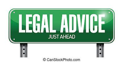 legal advice road sign illustration design over white
