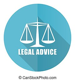 Legal advice vector icon, flat design blue round web button isolated on white background