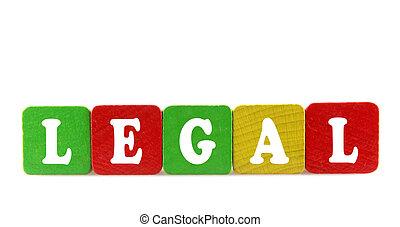 legal, -, aislado, texto, en, de madera, componentes básicos