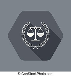 Legal assistance service icon - Flat and isolated vector ...