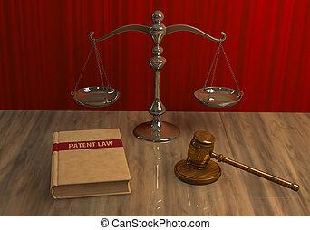 legal, attributes:, martillo, escala, y, libro de derecho