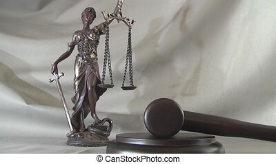 Legal blind justice Themis  statue with scales in chain