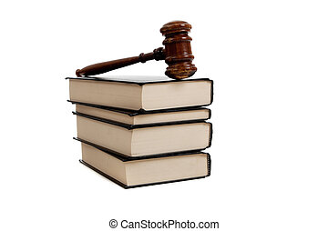 Legal books and Gavel - A stack of legal books and a wooden...