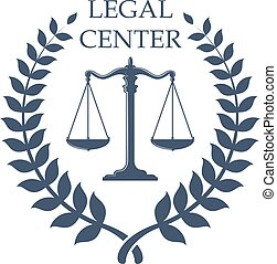 Legal Center emblem with Scales of Justice icon