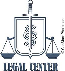 Legal center justice scales vector heraldic icon
