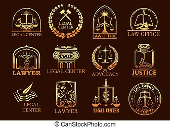 Legal center or lawyer vector juridical gold icons -...