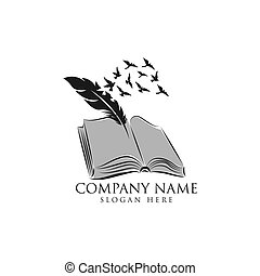 Legal center symbol as feather writing on book. Judgment ...