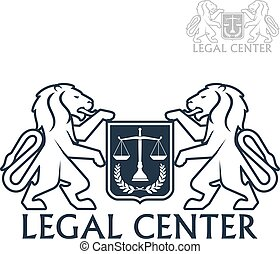 Legal center vector icon of heraldic lions, laurel