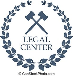 Legal center vector icon of judge gavel and wreath