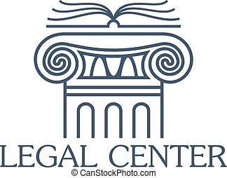 Legal center vector isolated icon or emblem
