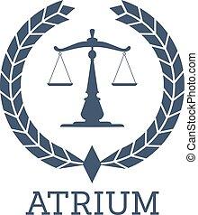 Legal company icon vector justice scales, wreath