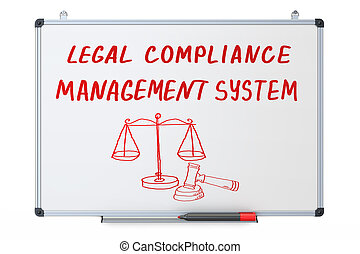 legal compliance, management system concept on the dry erase board, 3D rendering