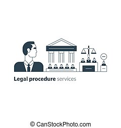 Legal court house trial services icons, lawyer man, advocacy attorney expert