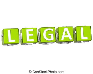 Legal Cube text - 3D Legal Cube text on white background