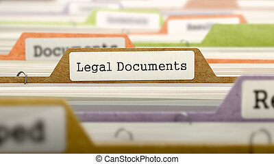 Legal Documents Concept. Folders in Catalog.