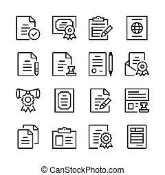 Legal documents line icons set. Legal forms. Modern graphic ...