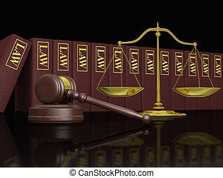 Legal education - Gavel, scale and law books, symbols of law...