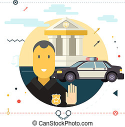 Legal Execution Justice law Police Symbol Policeman Stop Sign Front of Car With Court in Background Modern Flat Design Icon Template Vector Illustration