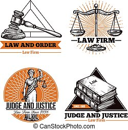 Set of legal concept of office and firm logo in vintage style vector illustration