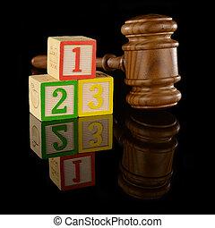 Legal Fundamental Basics - A gavel and numbered blocks ...