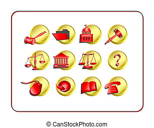 Legal Icon Set - Golden-Red