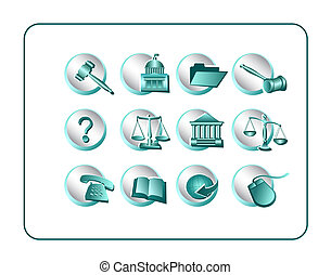 Legal Icon Set - Teal-Silver