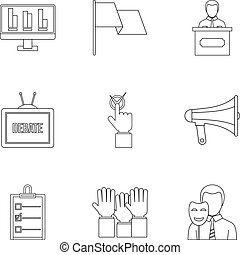Legal icons set, outline style - Legal icons set. Outline...