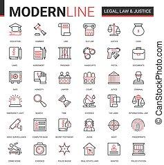 Legal law and justice flat icon vector illustration set of mobile app website symbols with judicial legislation education, lawyer defense, police investigation