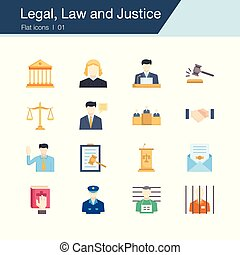 Legal, Law and Justice icons. Flat design. For presentation, graphic design, mobile application, web design, infographics, UI.