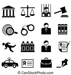legal, ley, y, justicia, iconos