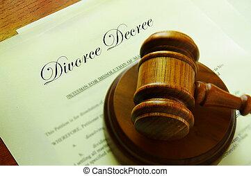 legal, martillo, encima de, divorcio, papeles