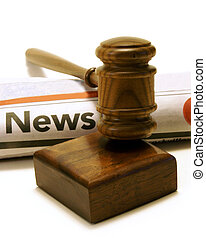Legal News Issues - Newspaper and gavel for many legal...