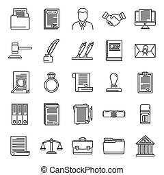 Legal notary icons set. Outline set of legal notary vector icons for web design isolated on white background