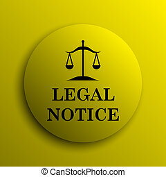 Legal notice icon. Yellow internet button.