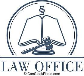 legal, oficina, vector, código, martillo, ley, icono