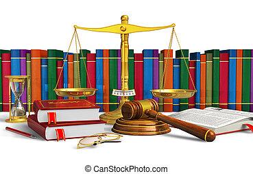Legal or bidding concept: balance, wooden mallet,...