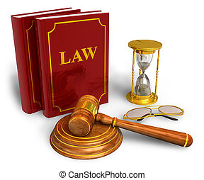 Legal or bidding concept - Wooden mallet, hourglasses and ...
