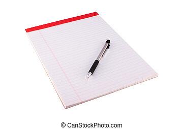 Legal Pad and Pencil - A legal pad and pencil isolated on a...