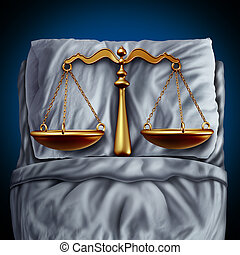 Legal rest and peace of mind due to confidence in the law as a justice scale in bed