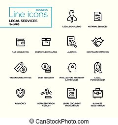 Legal services - line design icons set. Tax, customs ...