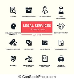 Legal services - line design silhouette icons set. Tax, ...