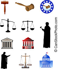 Legal Symbols - Symbols of justice. Digital illustration.