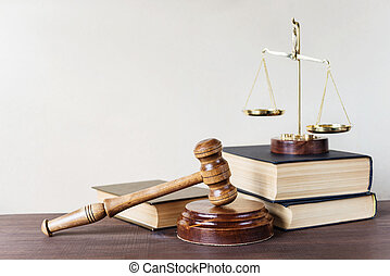 Legal - Symbols of law: wood gavel, soundblock, scales and...